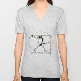 Guitar Man and Da Vinci Unisex V-Neck