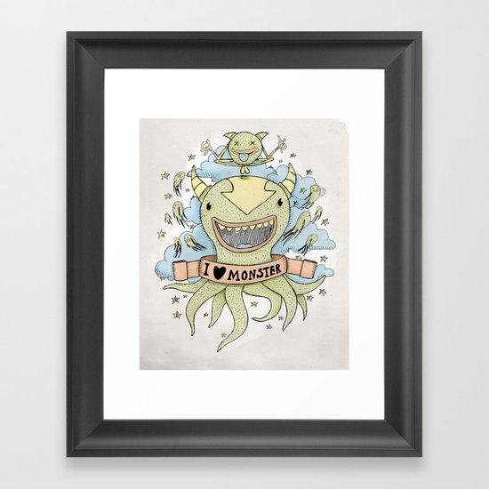 I love monster Framed Art Print