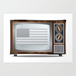 Patriotic Black And White Television Art Print