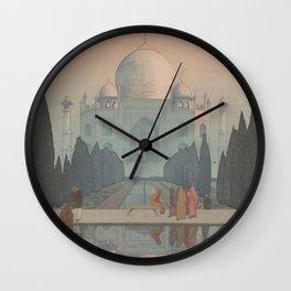 Morning Mist in Taj Mahal by Yoshida Hiroshi - Japanese Vintage Ukiyo-e Woodblock Painting Wall Clock