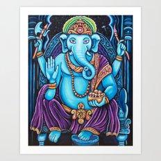 Blue Ganesha Art Print
