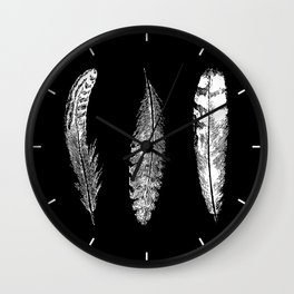 Feather Trio   Black and White Wall Clock