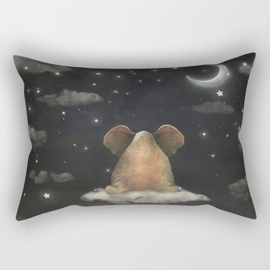 Sad elephant sitting on cloud in  night sky  Rectangular Pillow