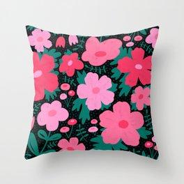 Flower bonanza - Black background Throw Pillow