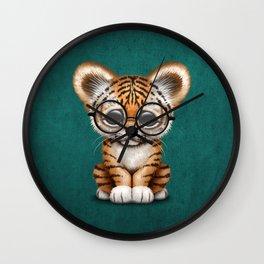 Cute Baby Tiger Cub Wearing Eye Glasses on Teal Blue Wall Clock