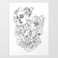 When the Petals Start Pouring Black & White Art Print
