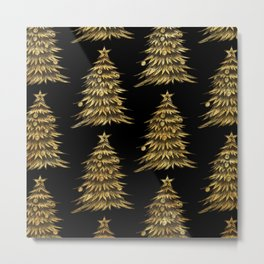 Gold Christmas Tree On Black Christmas Pattern Metal Print
