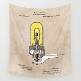 patent - Edison - Electric Lights - 1880 Wall Tapestry