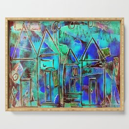 Neon Blue Houses Serving Tray