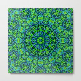 Green-black-blue kaleidoscope Metal Print