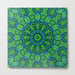 Green-black-blue kaleidoscope Metal Print