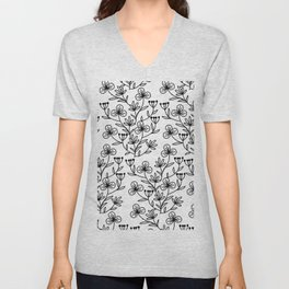 Black and white pattern of painted flowers Unisex V-Neck