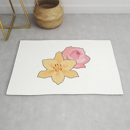 Pink Rose & Day Lily Rug