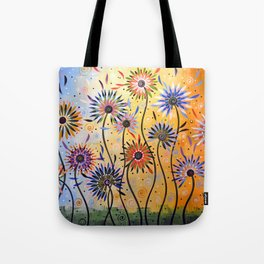 Abstract Art Flowers Floral Original Painting ... Explosion of Joy Tote Bag