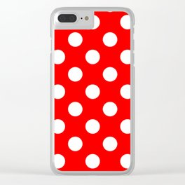Red - White Polka Dots - Pois Pattern Clear iPhone Case
