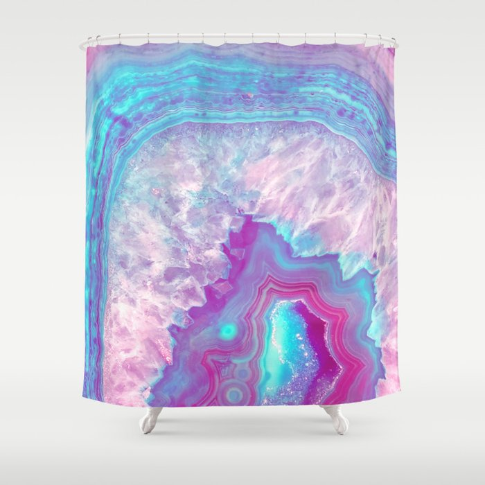 Agate Neon Shower Curtain By Ivonavargek