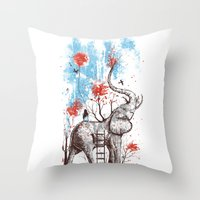 brown Throw Pillows featuring A Happy Place by Norman Duenas