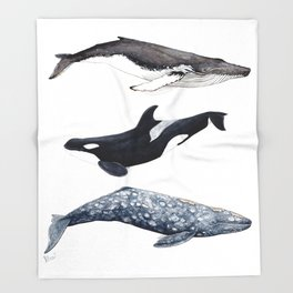 Orca, humpback and grey whales Throw Blanket