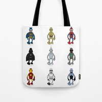bender Tote Bags featuring Bender meets - Series 1 by Andy Whittingham