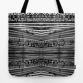 Linocut Tribal Pattern Tote Bag