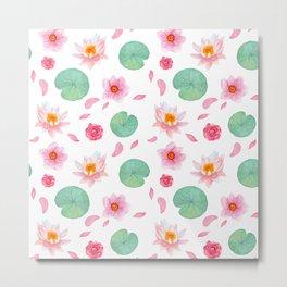 Watercolor blush pink green yellow water lilies lotus floral Metal Print