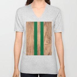 Wood Grain Stripes - Green #319 Unisex V-Neck