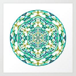 Retro Green Art Nouveau Geometric Mandala Art Print
