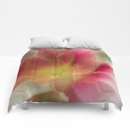 Abstract Pink, Yellow, White Lily-Fleur Blur Series Comforters
