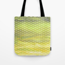 Black/Yellow Watercolor Seigaiha Pattern w/ Green Hints Tote Bag