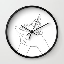 Hands line drawing illustration - Esmie Wall Clock