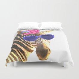 Zebra funny animal illustration Duvet Cover