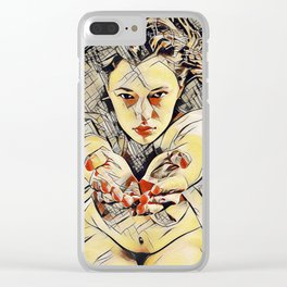 4448s-AB The Succubus Dreams of You Erotic Art in the style of Kandinsky Clear iPhone Case
