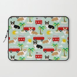 corgi welsh corgis hippie bus tropical beach surf life road trip corgi lover Laptop Sleeve