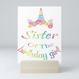 Cute Unicorn Sister Shirt, Sister of the Birthday Girl Gift Mini Art Print