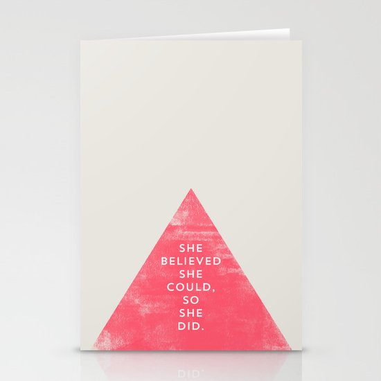 SHE BELIEVED SHE COULD SO SHE DID - TRIANGLE Stationery Cards