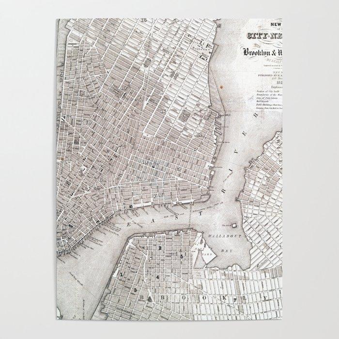 Vintage New York City Map Poster By Newyorkcityart Society6