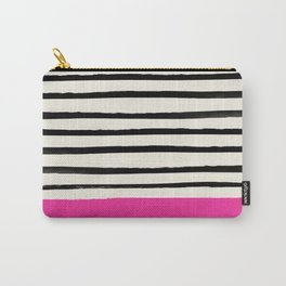 Bright Rose Pink x Stripes Carry-All Pouch