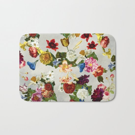 Flowery (white version) Bath Mat