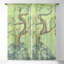 Teal Bonsai Sheer Curtain
