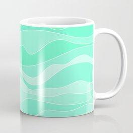Ocean sunrise, waves in blue and green print  Coffee Mug