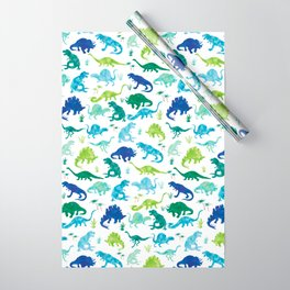 Watercolor Dinosaur Pattern White Green Blue Wrapping Paper