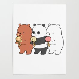 Baby Bears Eating Some Ice Cream Poster