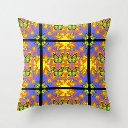 BLACK BARS MONARCH BUTTERFLIES BLUE=YELLOW DECORATIVE ART Throw Pillow