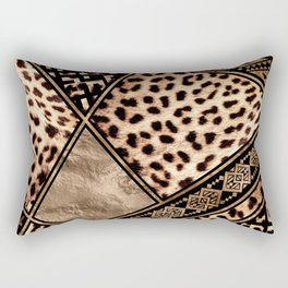 Cheetah Fur with Ethnic Ornaments Rectangular Pillow