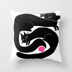 YIN YANG WITH PINK BALL Throw Pillow