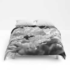 Black and White Peony 2 Comforters