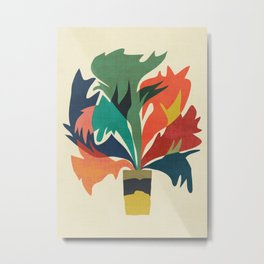 Potted staghorn fern plant Metal Print