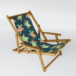 Cute Flower Child Hippy Turtles Sling Chair