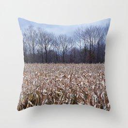 Field of Corn left Behind Throw Pillow