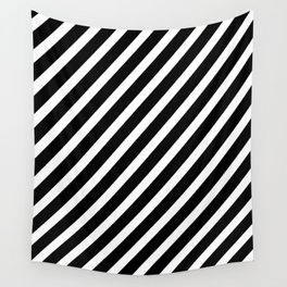 Black and White Diagonal Stripes Wall Tapestry